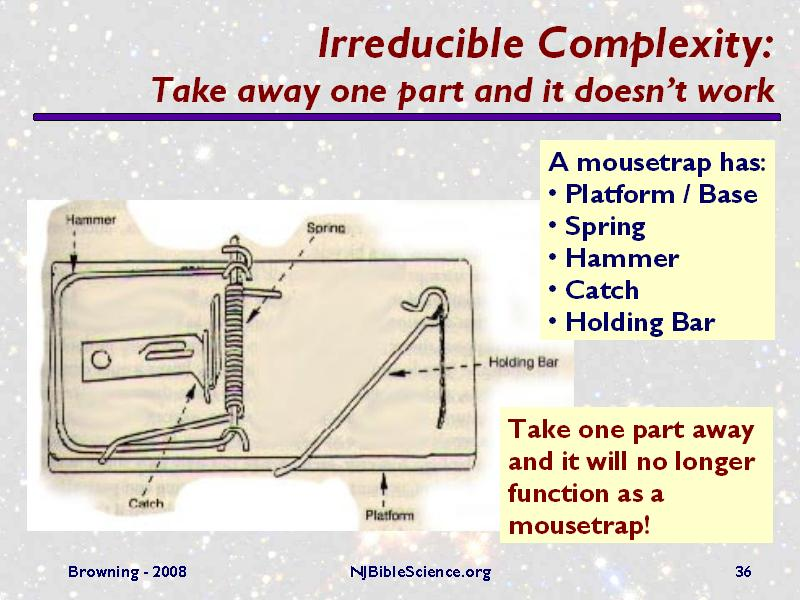 Irreducible Complexity Take Away One Part And It Doesn T Work