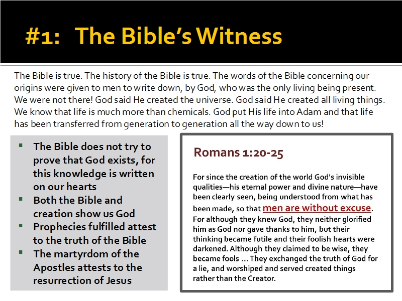 Evidence #1 - The Bible's Witness