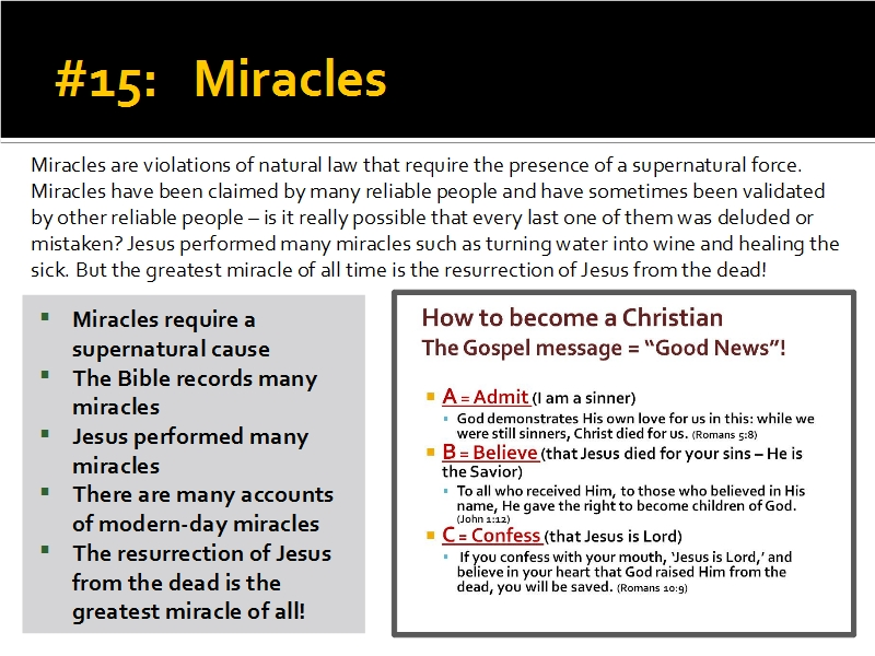 Evidence #15 - Miracles