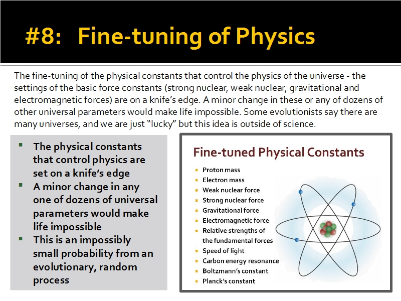 Evidence #8 - Fine-tuning of Physics