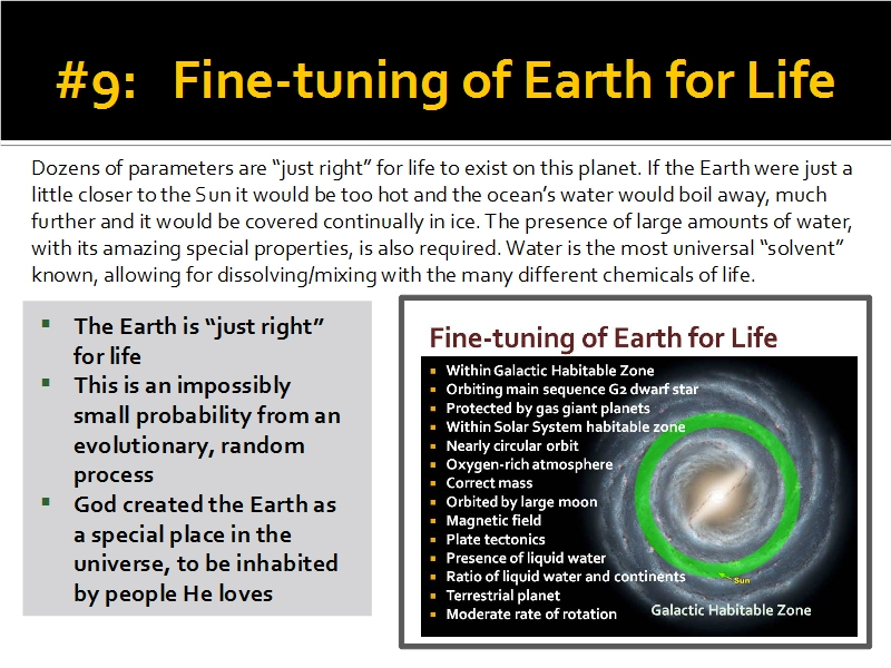 Evidence #9 - Fine-tuning of Earth for Life